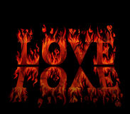 Word love in flames, with reflectio Stock Image