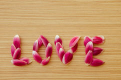 Word LOVE from flower petals Stock Image