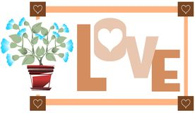 Word Love with flowers stock illustration