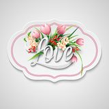 Word Love with flowers. Vector illustration Stock Photos