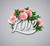Word Love with flowers. Vector illustration Stock Images