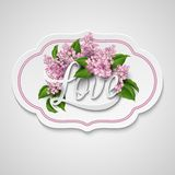 Word Love with flowers. Vector illustration Royalty Free Stock Images