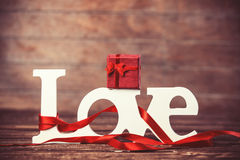 Word love and gift Royalty Free Stock Images