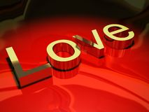 Word love in golden metal Royalty Free Stock Image