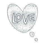 Word Love, Hand Drawn Comic Speech Bubble Template, Isolated Black And White Hand Drawn Clipart Object. Sketch Style Monochrome Sticker With Speech Balloon For vector illustration