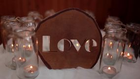 The word love handcrafted candles background stock video footage