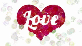Word Love in heart by animated paint dots stock footage