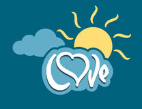 Word love with heart on cloud Stock Images