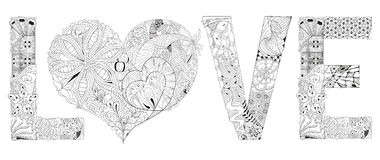 Word love with heart for coloring. Vector decorative zentangle object Stock Photo
