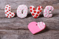 The word love and heart of cookies Royalty Free Stock Photos