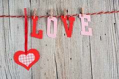 Word LOVE and heart Royalty Free Stock Photos