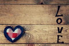 Word love and heart shape Royalty Free Stock Photography
