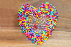 Word Love with Heart shaped Valentines Day  with stones color Stock Images