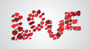 Word love from hearts Stock Photography