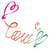 The word LOVE, hearts and balloons, a romantic inscription.  stock illustration