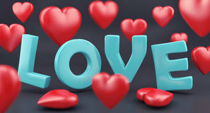 Word love and hearts Royalty Free Stock Photos