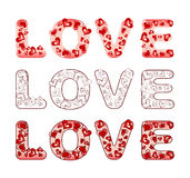 Word love with hearts Royalty Free Stock Image