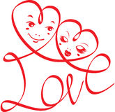 Word LOVE with hearts and funny faces Stock Photos