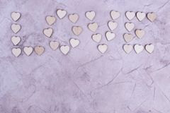 Word love from hearts, place for text. Love word shape from natural tree. Love theme concept stock photography