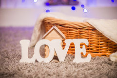 Word love items in the house Royalty Free Stock Photos