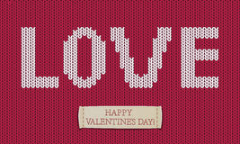 Word love on jersey texture. Happy Valentine's day!. Happy Valentine's day vector card Royalty Free Stock Photo