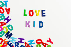 Word love kid letters alphabet Royalty Free Stock Images