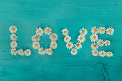 Word LOVE made out of flower on a wooden background. Flat lay. Love concept. Minimal love concept. royalty free stock image
