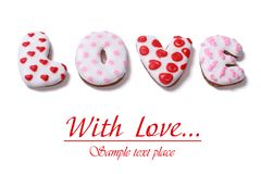 Word love letters composed of cookies Royalty Free Stock Photos