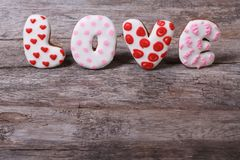 The word love letters composed of cookies Royalty Free Stock Image