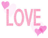 Word Love Little Painted Red & Pink Hearts Stock Photography