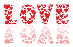 Word love by a lot of hearts stock image