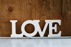 Word love  made ��of white wooden letters Royalty Free Stock Photo
