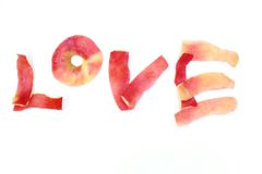 The word love. Made by apple peel, was isolated on white background Stock Photo