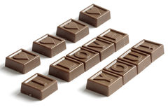 Word Love made of chocolates. Word Love made of little chocolates Stock Photography