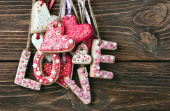 Word love made of cookies Stock Images