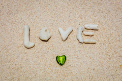 Word LOVE made of corals on sand, Boracay Island, Philippines Stock Images