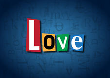 The word Love made from cutout letters. On a blue background Stock Photography