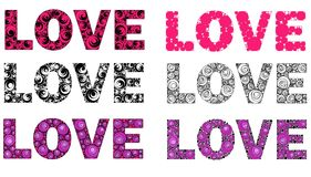 Word love made in different versions, vector stock image