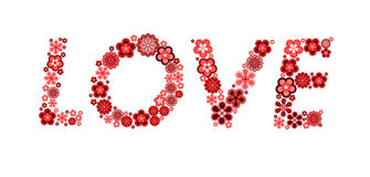 Word love made from flowers Stock Photos