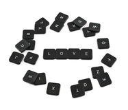Word love made of keyboard buttons isolated. Word love made of black keyboard button composition isolated over white background Stock Images