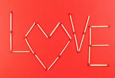 Word Love made of matchsticks Stock Images