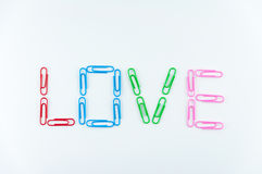 Word 'love' made of paper clips Royalty Free Stock Photo