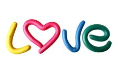 Word LOVE made from plasticine Stock Photography