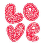 Word LOVE is made of red pattern of openwork lace Stock Image
