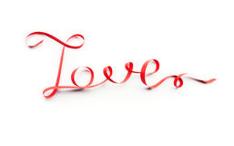 Word love made of red ribbon, on white Royalty Free Stock Photos
