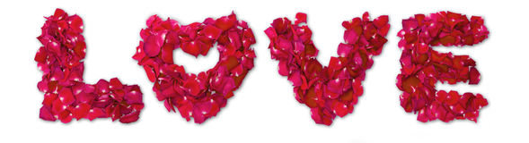 Word of love made from red rose Royalty Free Stock Photography
