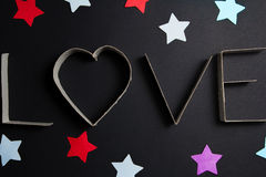 The word love made up of cardboard letters Royalty Free Stock Images