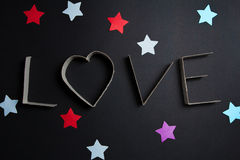 The word love made up of cardboard letters Royalty Free Stock Image