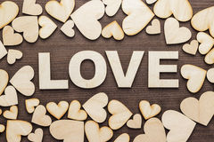 Word love made up with wooden letters Royalty Free Stock Image