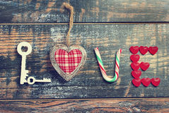 The word LOVE made of various objects in vintage style Royalty Free Stock Photo